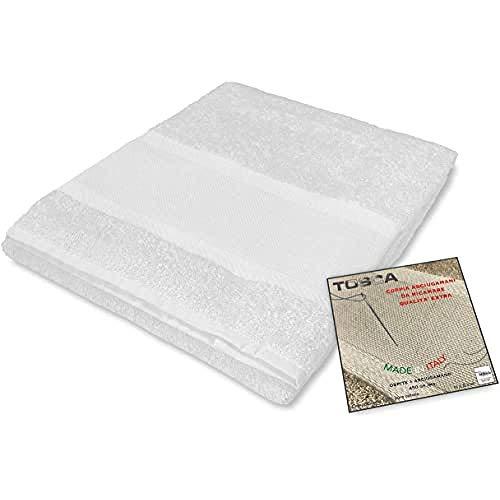 tex family Tosca - Juego de toallas de rizo para bordar con punto de cruz 1 + 1, para cara e invitados, color blanco