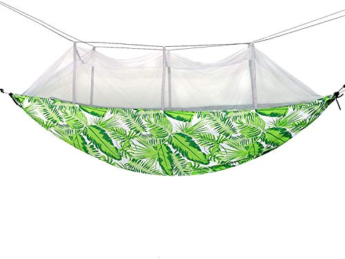 ZHICHUAN Camping Hammock with Mesh Hanging Rope Swing Chair Double Spreader Bar Heavy Cotton Fabric Adjustable Hooks for Backpacking Hiking Travel Outdoor,Green Lazy Chair/Green