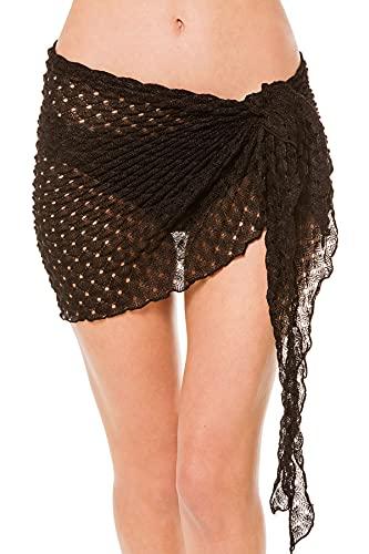 Elif Women's Metallic Crochet Short Cover Pareo Swim Cover Up Black One
