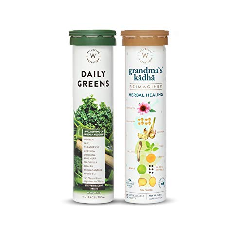 Wellbeing Nutrition Organic Immunity Booster Kit, Daily Greens - Wholefood Multivitamin and Grandma's Kadha- Ayurvedic Herbal tea for Cold, Cough, Flu| 100% Natural Immunity Booster(15x2 Effervescent Tablets)