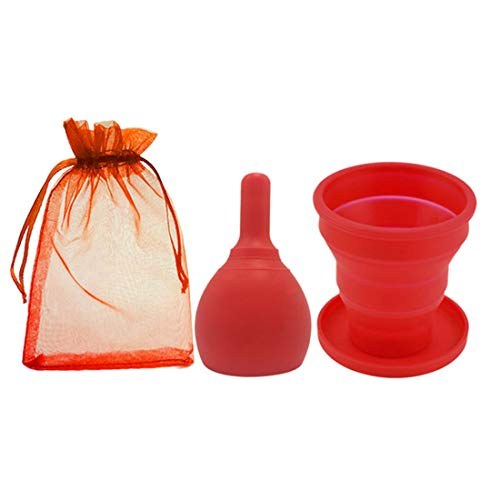 Menstrual Cup Mit Exhaust Valve Mit Medical Silikon-Menstruations-Kollektor, Den Frauen Menstruations Cup, Damenhygiene Vaginal Cup,Rot,L
