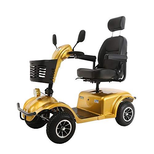 GZMUK - Rolstoel & Scooter Volwassene Lange Bereik Elektrische Mobiliteit Scooters 4 Wiel, 15 km/h, Gewicht Capaciteit 150 kg, Maat 1500 * 660 * 970 mm, Gouden