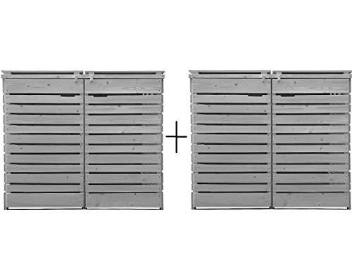 Fairpreis-design Mülltonnenbox Mülltonnenverkleidung 4 Tonnen Holz 120L - 240L hell-grau inkl. Rückwand vorimprägniert vormontiert Müllcontainer Mülltonne Mod.H