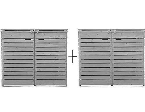 Lukadria Mülltonnenbox Mülltonnenverkleidung Mülltonnecontainer Holz 120L - 240L vorimprägniert in hell-grau mit Rückwand Mod.HH (4 Tonnen)