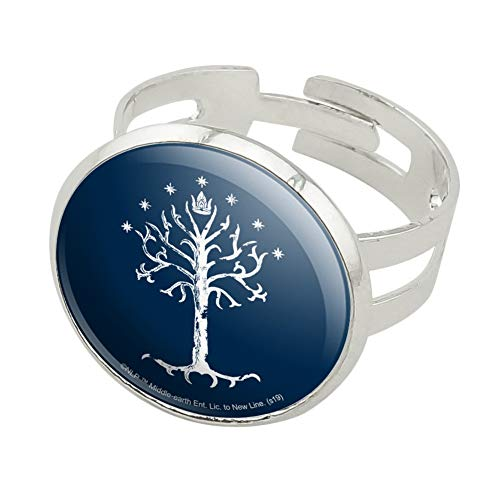 GRAPHICS & MORE Lord of The Rings Tree of Gondor Silver Plated Adjustable Novelty Ring