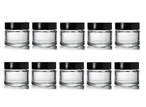 10 x Klein 15ml Klar Glasbehälter/Blumentöpfe Mit Schwarz Harnsäure Schraube Kappen Passend für Lip-balsam, Kräuter, Gewürze, Facecream, Salben & Kerzen