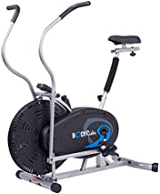 Body Rider Body Flex Sports Upright Exercise Fan Bike, Indoor Stationary Bike for Cycling, Black/Silver/Blue (BRF750)