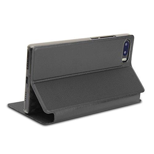Easbuy Mit Hard Plastik Etui Pu Leder Kunstleder Flip Cover Tasche für BLUBOO S1 4G SmartphoneHülle Hülle Handytasche Handyhülle Schutzhülle Etui Halter Halterung Handyhalter