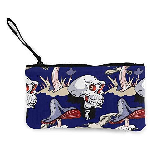 Lawenp Dibujos Animados extravagantes Setas Calavera Gaviota portátil Mujer Lona Monedero Bolsas de Almacenamiento pequeña Cartera Cremalleras cosméticos de Viaje