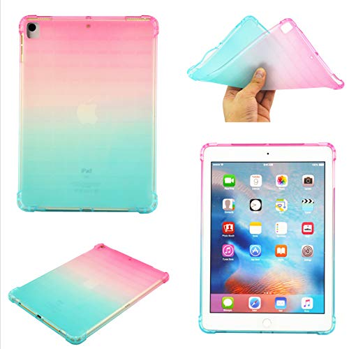 UUcovers iPad 10.2 inch Clear Case 2020/2019 Ultra Thin Transparent Soft TPU Back Shockproof Cover Flexible Impact Resistant Shell [Corner Protection] for Apple iPad 8th/7th Generation, Pink & Green