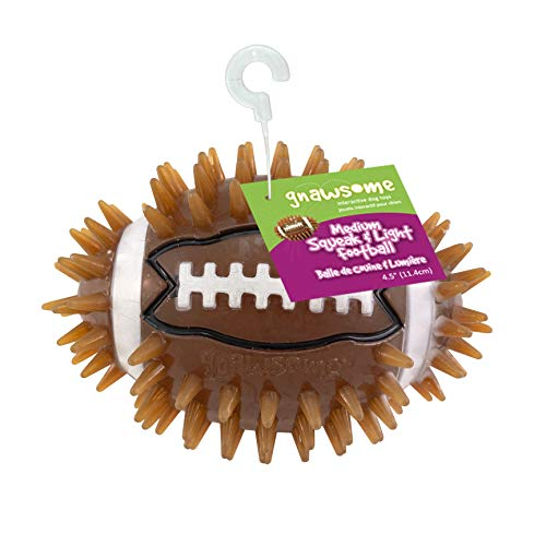 Gnawsome 4.5' Spiky Squeak & Light Football for Dogs - Durable, Rubber Bouncy Puppy Fetch & Chew Toy for Your Pet, Colors Will Vary