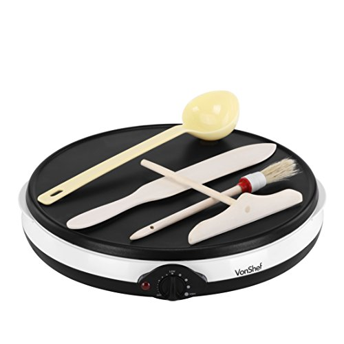 VonShef Professional Electric 12 Inch Crepe Pan and Pancake Maker Griddle with Batter Spreader