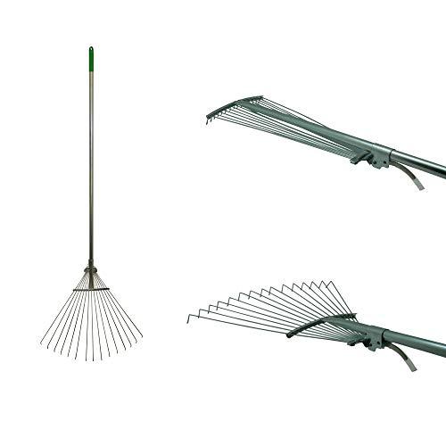BENSON Fächerbesen 115-155cm Laubbesen Gartenrechen Gartenbesen Laubrechen Gartenwerkzeug mit verstellbarem Stiel