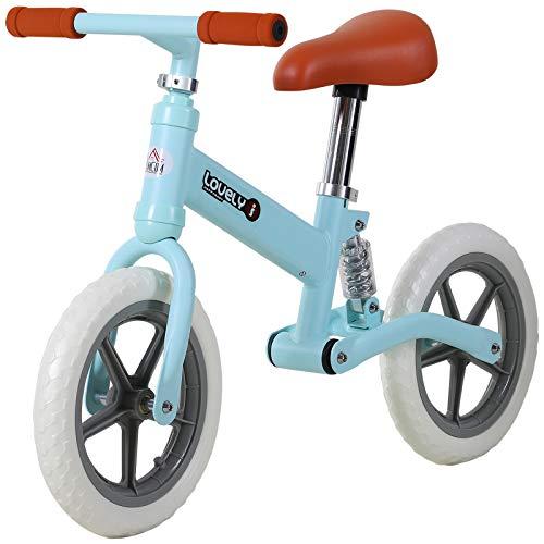 HOMCOM Kinder Laufrad, Lauflernrad mit Stoßdämpfer, Balance Bike, Kinderrad, 2-5 Jahre, Sitzhöhenverstellbar, PP, Blau, 85 x 36 x 54 cm