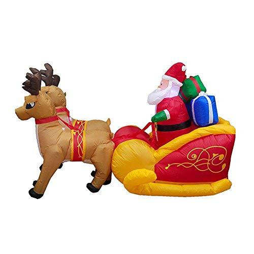 sknonr Weihnachten Doppel Deer Cart, Inflator Ornament Elk Sleigh for Weihnachten Garten Dekoration