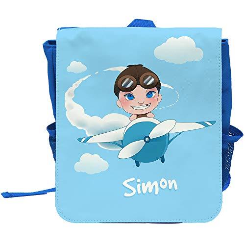 Kinder-Rucksack mit Namen Simon und Motiv mit Pilot und Flugzeug für Jungen