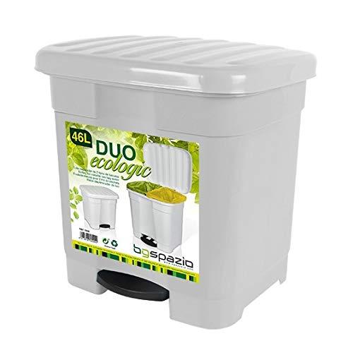 TIENDA EURASIA® Cubo de Basura con Pedal para Cocina - 46L - Material de Plastico Reciclado Ecológico - Medidas: 45x41x47 cm - 2 Divisiones Interiores (Blanco)