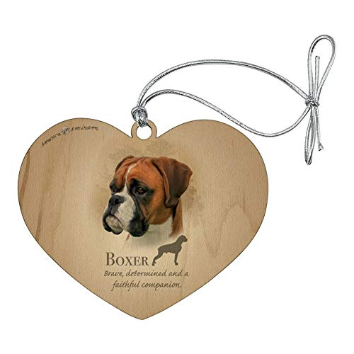 GRAPHICS & MORE Boxer Dog Breed Heart Love Wood Christmas Tree Holiday Ornament