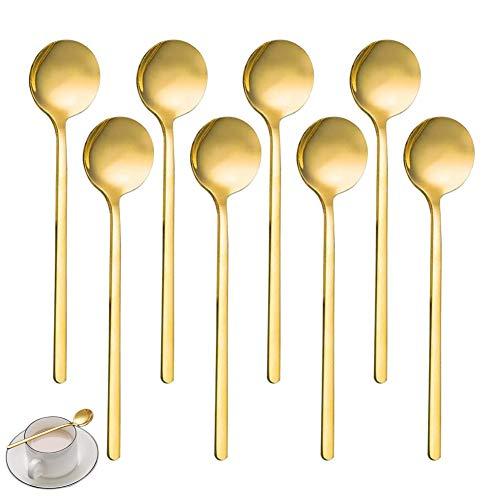 HUYIWEI Cuchara redonda dorada,8 cucharas de café,13 cm cuchara de té,Cuchara para postres,adecuada para café,azúcar,postre,helado,sopa