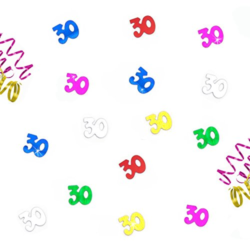 Oblique Unique® Zum 30. Geburtstag buntes Tisch Konfetti mit Spiegeleffekt - über 800 Stück