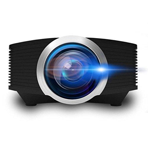 Video Projector, ERISAN Mini Portable Beam Proyetor for Home Movie Video Games, Multimedia w/HDMI USB Micro-SD VGA Ports