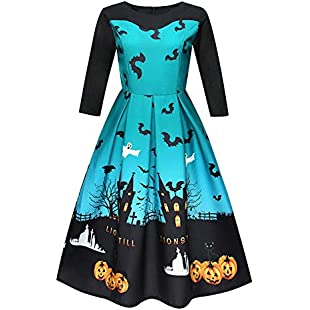 feiledi Trade Girls Dress Halloween Witch Bat Pumpkin Costume Halter Castle Print Dress - Green, XXL