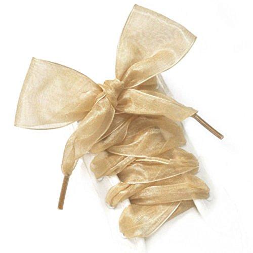 ICYANG 1 Paar Schnürsenkel Flache Satinband Turnschuhe Sportschuh Spitze Bogen Satin Shoestrings für Frauen Mädchen und Kinder, 43 Zoll lang Gold