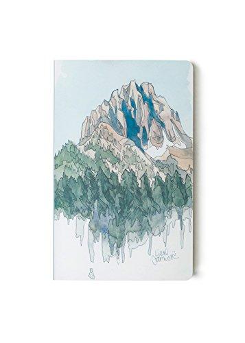 DENIK, Tagebuch mit Softcover, 13,3 x 21 cm, Schreib-Notizbuch mit 144 leeren Seiten, Motiv: Berge