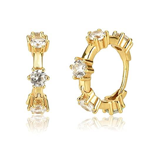 Pendientes Mujer Aros De Circonita Única De Plata De Ley 925 9 6Mm Huggies Crystal Cz Colgante Piercing Pendientes Joyería para Mujer Oro