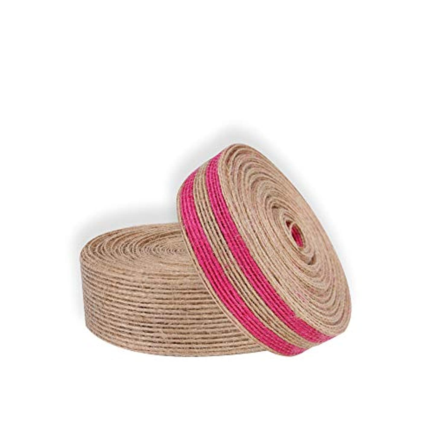 2-Pack Natural Jute Burlap Ribbon Wedding Floristry Cake Decor Handcraft DIY Wrapper Tool Rose Red