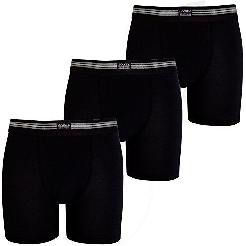 Jockey Mens Designer Katoen Stretch Boxer Lange Trunk Ondergoed 3pk Zwart M