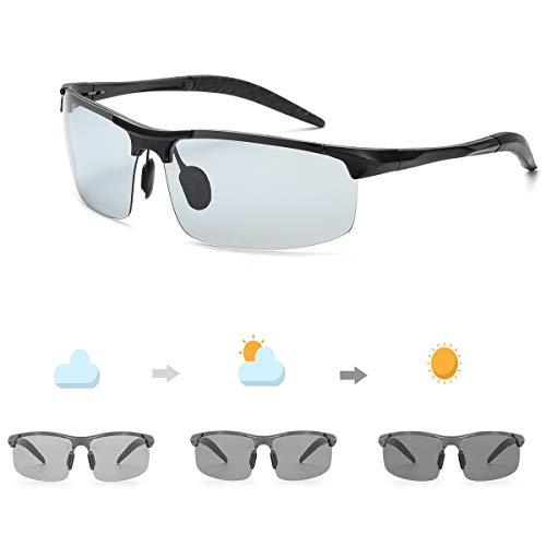 OSVAW Herren Photochromatisch Sportbrille Polarisiert Selbsttönend Sonnenbrille Al-Mg Anti Reflexbeschichtung für Autofahren Laufen Radfahren Angeln Golf 100{2e48f2ac72ce23666fc3d0516f5b5c01361ef4f4dedca0a6cf1bf9d6b2b7cea9} UVA UVB Schutz Hoch