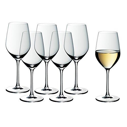 WMF Easy Plus Weingläser Weißwein 6er Set, Weinglas 390 ml, Kristallglas, spülmaschinenfest, transparent