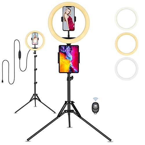 Luce per Tik Tok Luce ad Anello Treppiedi, Eletorot Selfie 10 Inch Ring Light con Telecomando, per Trucco, Smartphone, Telefono, Fotografia e Video YouTube, Streaming Live
