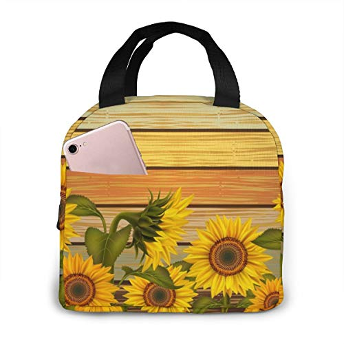 Retro Sunflower Lunch Box Insulated Meal Bag Lunch Bag With Striped Planks,Reusable Snack Bag Food Containertote Bag.