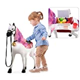 TEMI Riding Horse for Kids, Ride on Horse Riding Toy Push Walking Animal with Realistic Sounds & Light, Fruit, Vegetable, Kitchenware Playset for Toddlers Boys Girls Age 3+ (White)