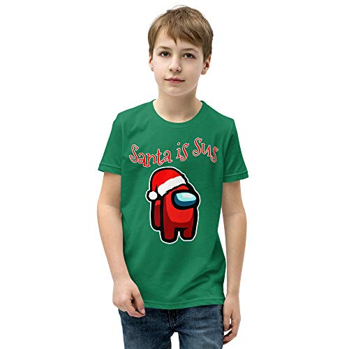 Funny Among Us Christmas Youth T-Shirt Santa is Sus Shirt Gift for Kids
