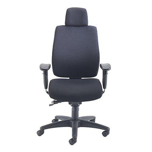 Avior bureaustoel met lange rugleuning, stof, 48 x 47 x 650 cm, zwart