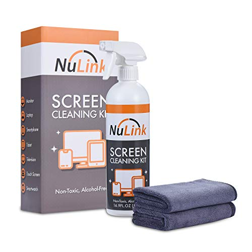 Screen Cleaner Spray, NuLink TV Screen Cleaner Liquid, Microfiber Cloth for Computer, iPad, Laptop, Glass, Electronics Cleaner Spray