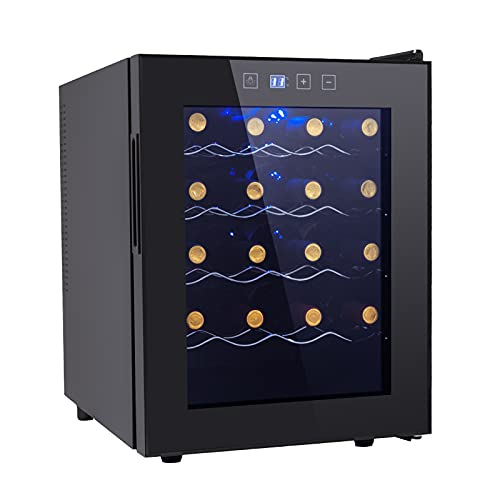 20 Bottle Wine Cooler Refrigerator-Freestanding Wine Cellar for Red, White, Champagne or Sparkling Wine, Quiet Operation Wine Fridge Digital Temperature Control Wine Chiller Glass Door Black