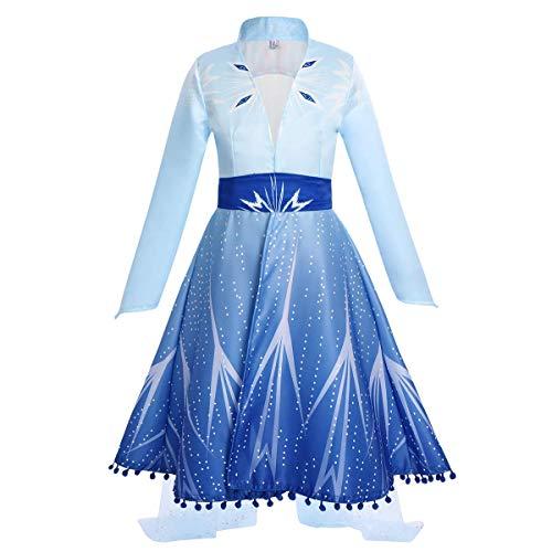 IWEMEK Vestito da Principessa Elsa Costume Regina del Ghiaccio delle Nevi Abito per Compleanno Natale Carnevale Cosplay Halloween Festa Abiti Cappotto Blu 10-11 Anni