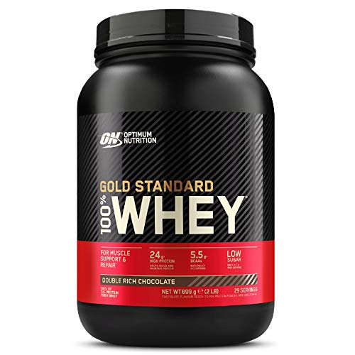 Optimum Nutrition Gold Standard 100% Whey Proteine in Polvere con Proteine Isolate ed Aminoacidi per la Massa Muscolare, Doppio Cioccolato, 29 Porzioni, 0.9 kg, il Packaging Potrebbe Variare