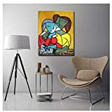 Yourenyuan Pablo Picasso Two Girls Reading Canvas Painting Print Living Room Home Decor Artwork Modern Wall Poster Picture -60x80cm No Frame