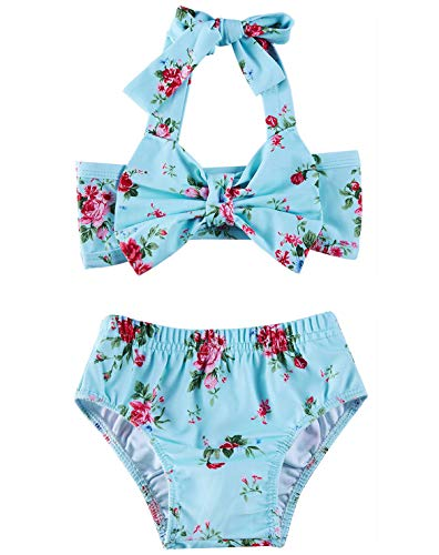 2T Baby Red Pink Flower Bathing Suits Girls 18-24 Months Cute Light Blue Lace Bowknot Bikini Sets 2 Years Old Kids Tropical Hawaiian Vacation Summer Shorts Infant High Waisted Ruffles Swimwear, Leaf