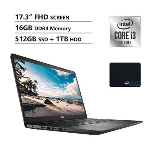 Dell 2020 Inspiron 3000 Series 17.3'' FHD Laptop, Intel I3-1005G1, 16GB DDR4 Memory, 512GB PCIe Solid State Drive + 1TB HDD, HDMI, WiFi, Webcam, DVD Drive, Win 10 Home, Black, KKE Mouse Pad