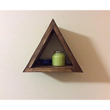 Small triangular shelf, triangle shelf, modern home decor, shadow box, wall hanging, floating shelf, rustic home, wooden shelf, modern shelf