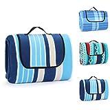 Manta de pícnic de 200 x 200 cm, impermeable y resistente a la arena, manta familiar, manta de pícnic, aislante del calor con asa, manta para camping, picnic, viaje (rayas azules)