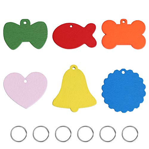 YourGift 6 Pack Multicolored Pet ID Tag Personalized Name Tags Wooden Handwriting Dog Cat Tags, 6 Colors and 6 Shapes Pet Tags for Dogs Cats Puppy Kitten (6 Pack)