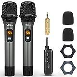 VeGue UHF - Micrófono inalámbrico inalámbrico de mano dual con receptor recargable, para karaoke, amplificador de voz, sistema de megafonía, máquina de canto, iglesia, boda, reunión, 200 pies (WM-2)