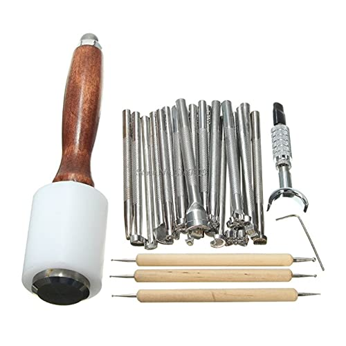 SSXPNJALQ 2. 5PCS. Lederprägungwerkzeuge Handwerk Carving Kit Verschiedene Formstempel Set Sattelherstellung DIY. Schlagholzhammer Dropship